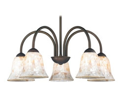 Design Classics Lighting - Chandelier with Mosaic Glass in Bronze Finish - 591-220 GL9222-M - Mosaic glass neuvelle bronze 5-light chandelier with bell glass shades. Takes (5) 100-watt incandescent A19 bulb(s). Bulb(s) sold separately. UL listed. Dry location rated.