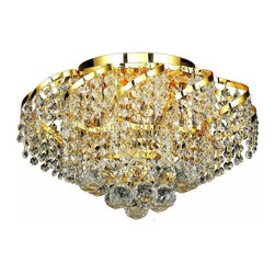 Elegant Lighting - ECA1 Belenus Collection Gold Finish Royal Cut Crystals Flush Mount - Featuring a graceful multi-tiered design and a cascading crystal body, these brilliant Belenus chandeliers bring decorative drama to any room setting.  Coordinating ceiling mounts complete the versatile design.