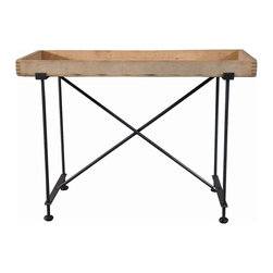 RT Facts - Wood Foundry Tray Top Table - Wood Foundry Tray top Side Table with Industrial Base. This is a new interpretation of our Munition tray tables. The tops are cabinet trays from a local foundry, and the base is locally fabricated iron. The tray top is removable.