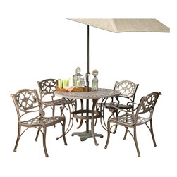 "Home Styles - Home Styles Biscayne 5PC 42"" Round Outdoor Dining Set in Bronze Rust - Home Styles - Patio Dining Sets - 5555308 - Home Styles Biscayne 5PC Set includes 42 inch Round Outdoor Dining Table and Four Arm Chairs. Set is constructed of cast aluminum with a Rust bronze finish. Features include hand antiqued powder coat finish sealed with a clear coat to protect finish attractively patterned table top has center opening to accommodate umbrellasand nylon glides on all legs. Features:"