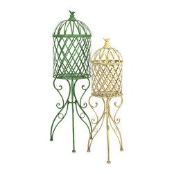 Deborah Birdcage Stand - Set of 2 - In natural bright hues, these iron birdcages feature scrollwork legs and a song bird perched on top and are perfect for displaying your favorite plant.