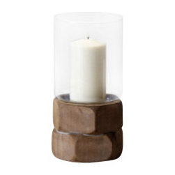 """Silver Nest - Hexagon Candleholder- Small- 11.5""""h - This natural wood, hex nut candleholder fits perfectly with the Large and Medium Hexagon Candleholders for a unique eclectic or traditional accent."""