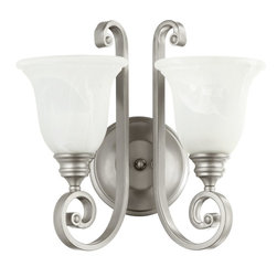 Quorum Lighting - Quorum Lighting Bryant Traditional Wall Sconce X-46-2-4545 - From the Bryant Collection, this Quorum Lighting wall sconce utilizes the power of two lights, making it ideal for adding ambience to workspaces, family rooms, dining rooms and more. The bell shades, made from faux alabaster glass, are paired with beautifully scrolled arms finished in Classic Nickel.
