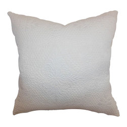 """The Pillow Collection - Xafina Quilted Pillow Creme - Immaculate and simple, this accent pillow is an ideal decor piece to add in your living room or bedroom. This decor pillow features a quilted and floral pattern. The creme colored accent pillow is easy to pair with different patterns and colors. This square pillow is made from 100% soft cotton fabric. This 18"""" pillow complements many decor styles, including contemporary, modern, coastal and more. Hidden zipper closure for easy cover removal.  Knife edge finish on all four sides.  Reversible pillow with the same fabric on the back side.  Spot cleaning suggested."""