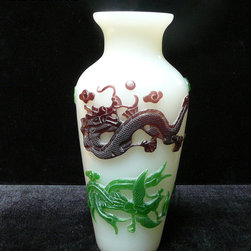 Chinese White Mixed Color Overlay Peking Glass Vase - The color overlay is pattern or anicent Chinese dragon and phoenix.