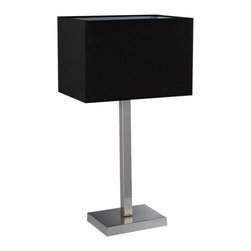 ParrotUncle - Rectangular Black Fabric Shade Contemporary Home Bedside Table Lamp - This modern table lamp is made of metal base and fabric shade. It is both suitable for your living room and bedroom. Add art decor styling to your house with this stunning contemporary lamp. Emit warm, soft light into the room, adding plenty of warm, glowing light that's perfect as home lighting.