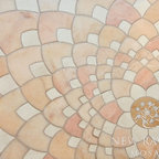 Ever Expanding Lotus Stone Mosaic - Ever Expanding Lotus, a stone waterjet mosaic shown in honed Rosa Portagallo, Ivory Cream, and Jerusalem Gold is by Tucker Robbins for New Ravenna Mosaics.