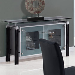 "Global Furniture - Buffet in Black - The buffet features rectangular frosted glass top which is framed with clear glass. The tubular legs are made of silver metal and finished in black which completes the look of your dining or living space.; Materials: Glass/Metal Legs; Color: Clear w/Black Stripe/Black Legs; Weight: 63 lbs; Dimensions: 51""L x 18""W x 33""H"