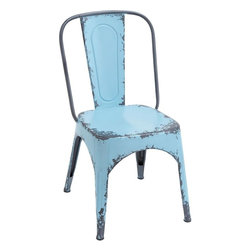Benzara - Blue Chair with Dash of Color and Vibrancy in Classic Style - Render interiors with a dash of color and vibrancy with this stylish and elegantly designed Metal Blue Chair 35 in. H, 19 in. W. The charming design of this chair is inspired from classic design and is adorned with subtle curves and arches. A weathered blue finish on the solid metal chair elevates the design aesthetics of this classic style chair by several notches. Perfectly designed with an arched backrest, this metal chair offers optimum support and the flat seat design ensures complete sitting ease. With its comfortable design, this metal chair can be ideal addition to simple study tables or side tables in different rooms. Built from top grade metal, this chair is a wonderful combination of durability and functionality and is sure to last you long.