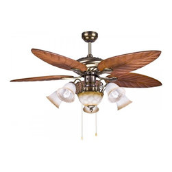 ParrotUncle - Tropical Style Wood Blades Ceiling Fans With Pull Chain Socket - Tropical Style Wood Blades Ceiling Fans With Pull Chain Socket