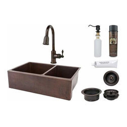 "Premier-Copper-Products - 33"" Copper Apron 60/40 Sink w/ORB Faucet - KSP2_KA60DB33229 Premier Copper Products 33 Inch Hammered Copper Kitchen Apron 60/40 Double Basin Sink with ORB Pull Down Faucet, Matching Drains, and Accessories."