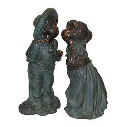 Alpine Fountains - Boy and Girl Kissing Statue - Made of Fiberglass and Resin. 1 Year Limited Warranty. Assembly Required. Overall Dimensions: 9 in. L x 9 in. W x 19 in. H (11 lbs)This antique bronze finish resin sculpture has a timeless charm that captures the innocence of childhood. The intricate detailing of these children is sure to bring a whimsical playfulness to your garden or deck.