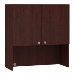 """BBF - BBF Quantum 36W Hutch with Doors - BBF-Commercial Grade Office-QT336FCS-Maximize your office storage space with BBF Quantum Collection Harvest Cherry 36"""" W Hutch with Doors (Tall) for a manager's style designed to fit small spaces closed offices and open plans. This professional storage Hutch blends beautifully with your desk workspace and is constructed of 100% thermally fused laminate for durability providing superior resistance to bumps and scratches. The 36"""" W Hutch (Tall) offers an integrated storage option that works and easily mounts on a 36"""" W Lateral File and is built with self-Closing Euro-style hinges. It provides simple concealed storage with one shelf that is adjustable to five position options without requiring a metal support frame. Eliminate the clutter and chaos of cords and plugs with our integrated wire management grommet feature that is built directly into the back panel. The 36"""" W Hutch (Tall) ships fully assembled. BBF's Quantum Collection offers quick installation with Pre-Assembled components cases and pedestals. Quantum's premium casegoods collection has fully laminated surfaces highlighted with warm metallic accents that turn your workspace into a show place. Solid construction meets ANSI/BIFMA standards for safety and performance in place at time of manufacture. Commercial quality backed by BBF Limited Lifetime Warranty and is American Made."""