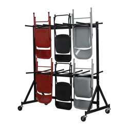 Flash Furniture - Folding Chair Truck - Folding chair storage truck. Rubber stoppers on chair hanger bars. 3 in. dia. polyolefin swivel wheels. Made from 17 gauge welded steel. Black finish. 69.5 in. W x 35 in. D x 79 in. H