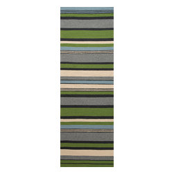 Jaipur Rugs - Stripe Pattern Green Indoor/ Outdoor Rug - CO01, 2.6x8 - Bring visual pop to outdoor living with the Colours I-O Collection. This energetic range of stripe, zigzag and stair-step designs bring together a myriad of multicolor palettes all in durable, hand-hooked polypropylene construction. With its fashion-forward styles and bold scale, each design can function in a broad range of contemporary and transitional spaces both indoor and out.