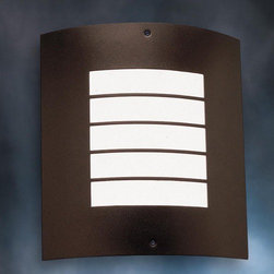 """Kichler - Newport Outdoor Wall Sconce in Architectural Bronze - For a diffused light and clean lines, this piece will fit all your lighting needs. Suitable for wet conditions this outdoor wall fixture has a architectural bronze finish and offers the comfort and assurance you need. Features: -Outdoor wall -Newport collection -Architectural bronze finish -White opaque acrylic diffuser -One bulb (not included), Medium bulb base, max 60W - 120V -UL and/or CSA listed use: Suitable for wet locations -Overall dimensions: 10.5"""" H x 9.5"""" W About Kichler: Kichler Lighting is a four-time winner of the Arts Award as Lighting Manufacturer of the Year. The highest accolade our lighting industry can give. Today they are the leading decorative lighting fixture company in the world. Founded in 1938, Kichler remains a privately held, family owned and run business staffed by people who understand decorative home lighting fixtures and who care about their customers. Kichler has built their reputation on original, design-oriented, high quality lighting products at competitive prices, backed by the finest customer service in the industry. Helping to make your house a home is their job and our number one priority. They do this by providing their customers with the widest assortment of home lighting fixtures and home decor accessories in the industry. The Kichler family of brands offers lighting for every room in your home, designed to fit every pocketbook, offering choices to complement your lifestyle and tastes."""
