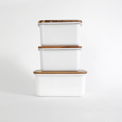 Enamel Storage Boxes - These storage containers combine two of my favorite things: fresh white and warm wood.