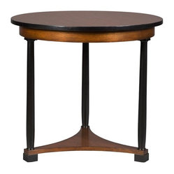 Vanguard - Cyril Lamp Table - A dignified round-topped, three-legged mahogany side or accent table. Present a polished look to complement the warmth within your home. Lovely waxed mahogany and satin ebony finish, this is a perfect surface for a seasonal floral arrangement or stylish lamp.