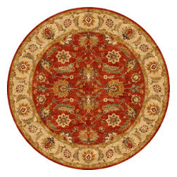 Jaipur Rugs - Traditional Oriental Pattern Red /Orange Wool Tufted Rug - MY04, 10'RD - Sublime hues and graceful lines accentuate the traditional pattern motifs in Mythos, an elegant and value-driven range of durable, hand-tufted area rugs. This sophisticated collection is for the discriminating consumer with a passion for traditional design, at prices that answer every budget. The Mythos Collection is tradition, redefined.