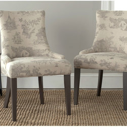 Safavieh - Safavieh Lester Taupe Dining Chairs (Set of 2) - These gorgeous Lester dining chairs by Safavieh feature beautiful espresso finished legs with elegant,gentle sloped arms and a slight hourglass shape. Upholstered in traditional faded scenery printed cotton blend,lend a posh style to your dining room.