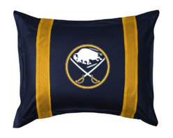 Sports Coverage - Buffalo Sabres Sham - Sidelines Design - Show your team spirit with this officially licensed 25 x 31 Buffalo Sabres sham. There is a 2 flanged edge that decorates all four sides of each Sabres sham. Made of 100% polyester jersey mesh, just like the players wear, with screen printed logo of Buffalo Sabres in the center and sidelines on both sides of the logo in team colors. Envelope closure in back. Fits standard pillow. 3 overlapping envelope closure is on back. 100% Polyester Jersey.
