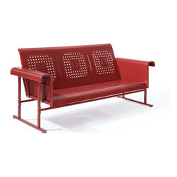 Crosley Furniture - Crosley Furniture Veranda Sofa Glider in Coral Red - Rest, relax, and reminisce with our nostalgically inspired Veranda retro metal gliders.� Designed to pay tribute to the iconic outdoor furniture of yesteryear, the Veranda collection is offered in a variety of colors to complement any outdoor space.�� Made of powder coated steel and built to withstand mother nature for years to come. �