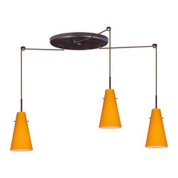Besa Lighting - Besa Lighting 3JW-4124AM-LED Cierro 3 Light LED Cord-Hung Mini Pendant - Cierro is a softly tapered narrow cylinder, creating a refined contemporary look. Our Apricot Matte glass is a bright, yellow-orange cased glass, with an opal inner layer. This look creates an atmosphere that can be calming and earthy. When lit this gives off a light that is functional and soothing. The smooth satin finish on the clear outer layer is a result of an extensive etching process. This blown glass is handcrafted by a skilled artisan, utilizing century-old techniques passed down from generation to generation. The cord pendant fixture is equipped with three (3) 10' SVT cordsets and a 3-light large round canopy, three (3) suspension stemhooks included.Features:
