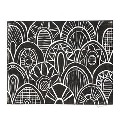 Printwork - Moroccan Scallop Pattern 8 x 10 Hand-pulled Linocut Print, Black - It features playful scale pattern, with interesting details. This great print would make a fun statement in any space.