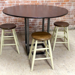 Round Pub Table With Steel Base - http://www.ecustomfinishes.com