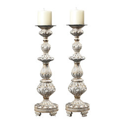 Sterling - Sterling 93-10045/S2 Candle Holders In With With Gold Highlight - Sterling 93-10045/S2 Candle Holders In With With Gold Highlight