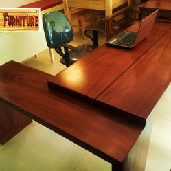 Office Tables - Modern Solid Wood Office / Home Desk. Made of Solid Mahogany Wood Slabs. Modern / Contemporary Design. Movable drawers can be placed beneath the table. made from 2 inch thick wood slabs.