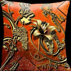 Lama Kasso - Como Gardens Deep Orange with Antique Gold Vines and Floral Accents 18 x 18 Sati - -Satin Lama Kasso - 119