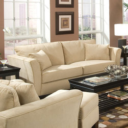 Coaster - Park Place Collection Cream Casual Sofa - Retro-contemporary style, flared arm with loose throw pillows, cappuccino finished legs and wrapped in a cream colored velvet fabric.