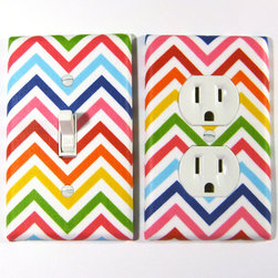 Rainbow Bright Chevron Stripes Zigzag Home Decor By ModernSwitch - Rainbow + Chevron = The most cheerful outlet covers ever!