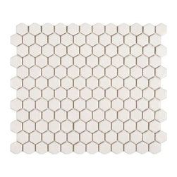 Metro Hex Glossy White Porcelain Mosaic Floor and Wall Tile - This matte white works fairly well in traditional/transitional settings. White grout gives a very seamless/monolithic look, while dark grout makes every little shape pop.