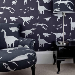 Purple And Silver Dinosaur Wallpaper for Children - Dino Dan (or any boy for that matter) would kill for this wallpaper. Available in many different color waves from bright to subtle (and now in fabric).