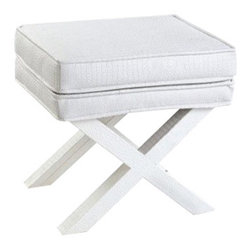 Two's Company - Cote d'Azur Rectangle Bench - White faux crocodile cushions with sleek piped edges will get attention in any room. Our Cote d'Azur Rectangle Bench from Two's Company is elegantly-understated, sturdy, simple and a chic accent to the living room, bedroom, guest room, retreat or bath.