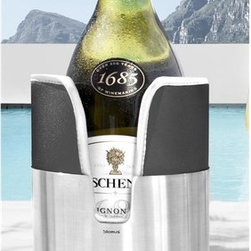 Blomus - Colletto Bottle Cooler - Keeps wine or water cool. Pad is removable for freezing. Made from steel and neoprene. Brushed stainless steel color. 4.65 in. Dia. x 7.6 in. H (1.87 lbs.). Includes cooling gel pad. Designer: Designit. Imported from ItalyCool water, cool design, efficient cooling pads keep water, prosecco and white wine at just the right temperature.