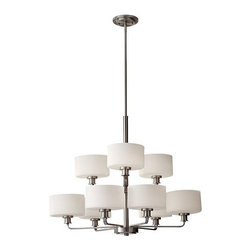 Murray Feiss - 9 Bulb Brushed Steel Chandelier - - cUL Dry Approved.