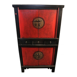 """n/a - 59""""H Chinese Chest On Chest Finished In Two Tone Lacquer - Chinese Chest-On-Chest, 59"""" high is made of solid elmwood with Peking styling. Large ornamental brass hardware with distressed lipstick red panels and antique black lacquer. This stunning Asian cabinet has 4 doors and 3 drawers and works in your home. Tasteful and simple Peking lines, two tone colors make this a rich accent piece. Use in the bedroom as a dresser or bureau, living room as an entertainment cabinet, dining area as a bar or in the entryway.  Measuring 33x18x59""""H this piece is hand made using quality Chinese tongue and groove joinery for years of enjoyment. No assembly required,"""