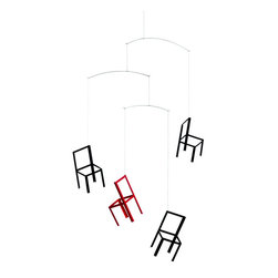 Flensted Mobiles - Flying Chairs Mobile - Pull up a seat and let your imagination soar. One thing is certain — hanging on your porch or patio, this whimsical mobile is sure to be a conversation starter.