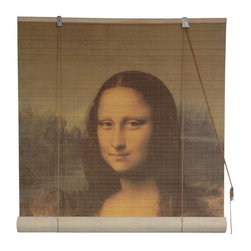 "Oriental Unlimited - Mona Lisa Bamboo Blinds (36 in.) - Size: 36 in.. An image of the classic Leonardo da Vinci masterwork ""Mona Lisa"" is featured on this roll up window blind, an innovative way to add an element of artistry to any decor. Constructed of tightly woven matchstick bamboo to limit the entrance of light, the blind is available in your choice of sizes. Feature the famous image of Leonardo da Vinci's Mona Lisa. Easy to hang and operate. 24 in. W x 72 in. H. 36 in. W x 72 in. H. 48 in. W x 72 in. H. 60 in. W x 72 in. H. 72 in. W x 72 in. H"