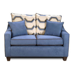 Chelsea Home - Georgia Upholstered Loveseat - Includes toss pillows. Medium seating comfort. Victory galaxy, Sussex cobalt and flatsuede chocolate cover. Zippered cushions. Sewn pillows. N sag steel springs provide comfortable and uniform seating. 1.5 density Dacron wrapped cushions. 69% rayon and 31% poly fabric. Kiln dried hardwoods and engineered wood frame. Made in U.S.A. No assembly required. 64 in. L x 35 in. W x 38 in. H (125 lbs.)