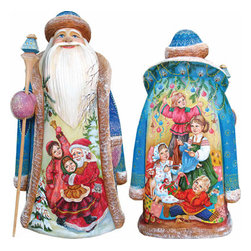 """Artistic Wood Carved Christmas Ready Santa Claus Sculpture - Measures 11""""H x 5""""L x 4.75""""W and weighs 4 lbs. G. DeBrekht fine art traditional, vintage style sculpted figures are delightful and imaginative. Each figurine is artistically hand painted with detailed scenes including classic Christmas art, winter wonderlands and the true meaning of Christmas, nativity art. In the spirit of giving G. DeBrekht holiday decor makes beautiful collectible Christmas and holiday gifts to share with loved ones. Every G. DeBrekht holiday decoration is an original work of art sure to be cherished as a family tradition and treasured by future generations. Some items may have slight variations of the decoration on the decor due to the hand painted nature of the product. Decorating your home for Christmas is a special time for families. With G. DeBrekht holiday home decor and decorations you can choose your style and create a true holiday gallery of art for your family to enjoy. All Masterpiece and Signature Masterpiece woodcarvings are individually hand numbered. The old world classic art details on the freehand painted sculptures include animals, nature, winter scenes, Santa Claus, nativity and more inspired by an old Russian art technique using painting mediums of watercolor, acrylic and oil combinations in the G. Debrekht unique painting style. Linden wood, which is light in color is used to carve these masterpieces. The wood varies slightly in color."""
