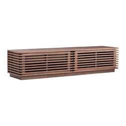"Zuo - Zuo Linea Walnut Long Console - Zuo Linea Walnut Long Console Chic wood console. Warm walnut wood finish. Solid fir wood and MDF construction. Distinctive open slat design. Storage space inside. Walnut wood tones add warmth to a room. A beautiful addition to your home from Zuo Modern. No assembly required. 71"" wide. 18"" deep. 16 1/2"" high.   Chic wood console.  Warm walnut wood finish.  Solid fir wood and MDF construction.  Distinctive open slat design.  Storage space inside.  Walnut wood tones add warmth to a room.  A beautiful addition to your home from Zuo Modern.  No assembly required.  71"" wide.  18"" deep.  16 1/2"" high."