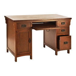 Holly & Martin - Landon Computer Desk, Brown Mahogany - Make your workspace a place to enjoy again! The beautiful, dark cherry finish and classic mission design of this desk are sure to enrich any workspace. Multiple drawers combine with a large cabinet to make this desk the perfect solution for cleaning up your cluttered work area.