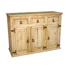 Mexican Artisans - Rustic Pine Buffet - Welcome loved ones to your dining room with this special piece. Crafted of solid kiln-dried pine, it features a pale honey finish and rustic metal handles and hinges for a look that's handsome yet homespun.