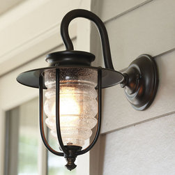 Ballard Designs - Porto Outdoor Lantern - All-weather aluminum construction. Uses a single bulb. UL listed. Lakehouse not required. This industrial-style outdoor lantern has all the classic detailing of nautical fixtures, from the gooseneck mount to the caged housing and seeded ribbed glass. Exposed hardware and a hardy bronze finish complete the popular look. Porto Outdoor Lantern features: . . .