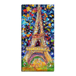 """DiaNoche Designs - Eiffel Tower at Night Illuminated Wall Art - Illuminated Wall Art by Dianoche Designs, brings continuous art 24 hours a day. Art during the day... flip a switch, and at night, it is a light! Art by Karen Tarlton - Eiffel Tower at Night. Dianoche Designs illuminates artwork from behind using LED's designed to last 50,000 hours. The """"Art Today, Light Tonight"""" concept gives each customer an opportunity to enjoy their artwork 24 hours a day! Dianoche Designs uses images from artists all over world and literally """"Brings to Light"""" their astonishing works. Your power cord can be hidden by a simple cable organizer or cable raceway, that commonly hides speaker wire on a wall. This can be purchased at any home improvement store and you can also paint over it."""