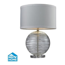 Dimond Lighting - Dimond Lighting HGTV241 HGTV Home Clear Table Lamp with White Faux Silk Shade an - Features: